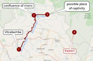 Возможный маршрут бегства Тупака Амару, последнего правителя инков, от испанцев