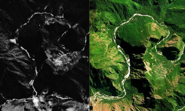 On the left: image of Machu Picchu taken by U.S. photographic reconnaissance satellite Keyhole-9 (also known as Big Bird) in 07.08.1980, data courtesy of the USGS. On the right: image of Machu Picchu taken by a modern U.S. satellite WorldView-2, DigitalGlobe data.