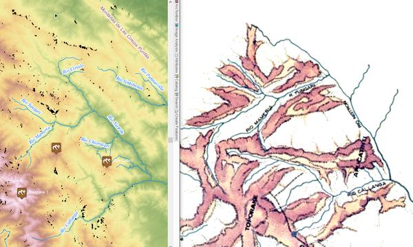 Процесс привязки старинной карты (справа) по отчётливым линиям речной сети (слева).