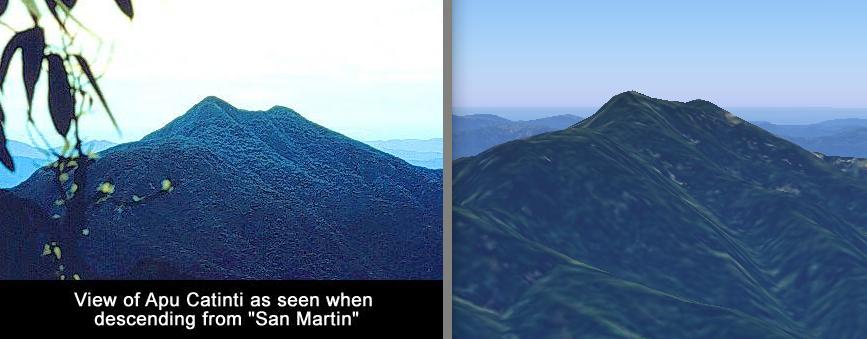 Пример того, как использование трёхмерного просмотра местности помогает нам собирать необходимые сведения. Слева: фотография священной горы Апу Катинти, местоположение которой мы пытались определить (источник: Quest for Paititi, сайт экспедиции Грегори Дейерменджяна, copyright © 2004 Quest for Paititi). Справа: та же гора, обнаруженная в программе Google Earth, и в последствии занесённая в нашу базу данных.