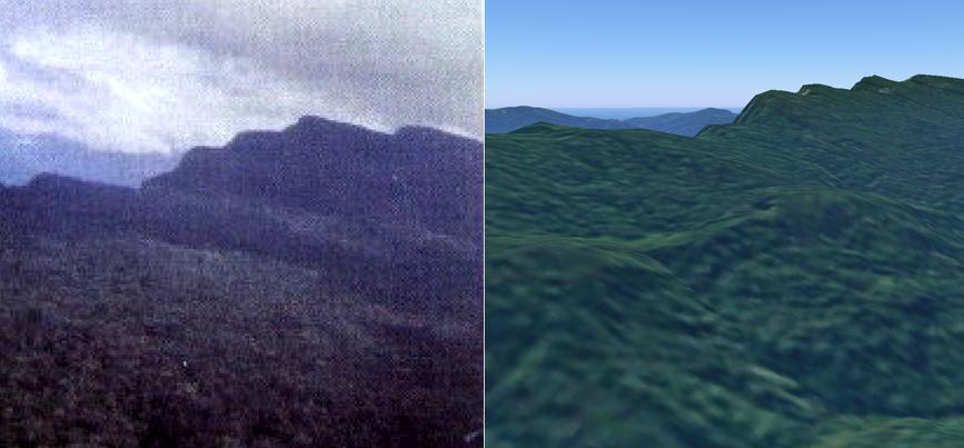 Другой пример успешного применения 3D-просмотра местности при поиске горы с пятью вершинами (слева — фото, справа — 3D-модель).