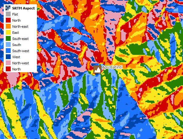 Фрагмент карты уклона поверхности, где разными цветами закодированы направления по сторонам света.