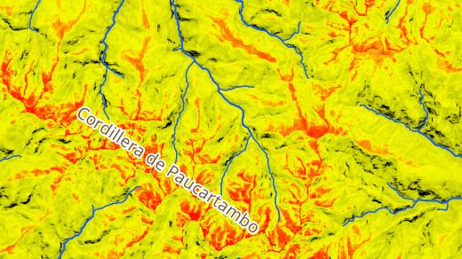 Фрагмент карты, представляющий совокупное солнечное излучение (прямое + рассеянное), поступающее на поверхность и вычисленное на весь 1500 год. Красный цвет соответствует максимальным значениям, жёлтый — средним, а чёрный - минимальным.