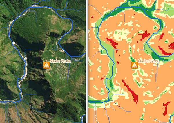 Фрагмент карты пригодности к заселению на район вокруг Мачу Пикчу.