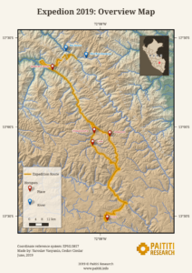 Paititi Research - Map of the Expedition 2019, Cusco, Peru